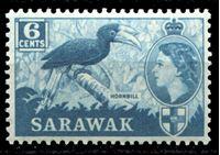 Изображение Саравак 1955-1959 гг. • Gb# 191 • 6 c. • Елизавета II основной выпуск • малабарский ток(птица-носорог) • MNH OG XF ( кат.- £4 )