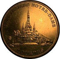 """Изображение Франция XX век • собор """"Нотр-Дам"""" де Лурд • медаль • AU+"""