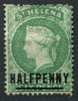 Изображение Святой Елены о-в 1884-1894 гг. • Gb# 34a • ½ на 6 d. • Королева Виктория • оригинал!! RRR • надпечатка нов. номинала • стандарт • MH OG VF ( кат.- £1100 )