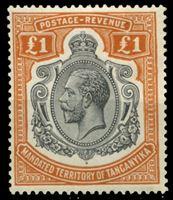 Изображение Танганьика 1927-1931 гг. • Gb# 107 • £1 • Георг V основной выпуск • концовка серии • стандарт • MLH OG VF ( кат.- £250 )