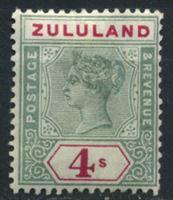 Изображение Зулуленд 1894-1896 гг. • Gb# 27 • 4 sh. • Королева Виктория • стандарт • MLH OG VF ( кат.- £ 160 )