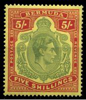 Изображение Бермуды 1938-1952 гг. • Gb# 118d • 5 sh. • портрет в орнаменте • MNH OG XF ( кат.- £ 100 )