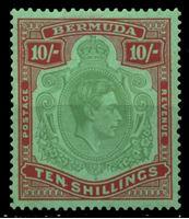 Изображение Бермуды 1938-1952 гг. • Gb# 119 • 10 sh. • Георг VI основной выпуск • глянцевая печать! (перф. - 14) • портрет в орнаменте • MLH OG XF ( кат.- £ 450 )