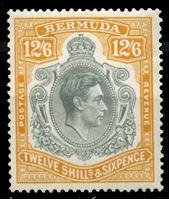 Изображение Бермуды 1938-1952 гг. • Gb# 120c • 12s.6d. • Георг VI основной выпуск • (перф. - 14) без наклеек • портрет в орнаменте • MNH OG XF ( кат.- £ 125 )
