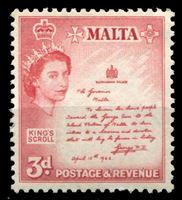 Изображение Мальта 1956-1958 гг. • Gb# 272 • 3 d. • Елизавета II основной выпуск • послание короля Георга VI • MH OG VF